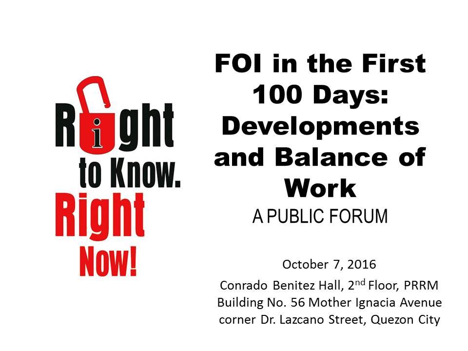 FOI in the First 100 Days: Developments and Balance of Work, A Public Forum